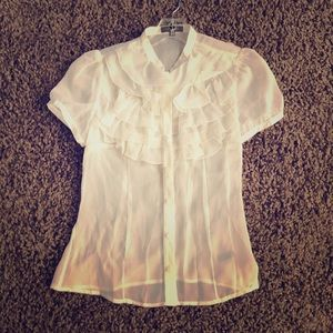 The Limited ruffled sheer button up blouse